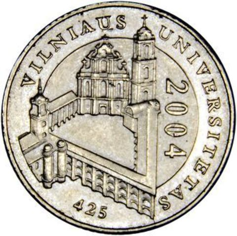 """1 лит """"425 лет Вильнюсскому университету """" 2004 год"""