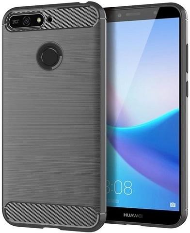 Чехол Huawei Y6 Prime 2018 (Enjoy 8E, Honor Play 7A Pro) цвет Gray (серый), серия Carbon, Caseport
