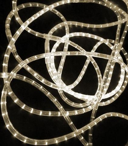 LED Дюралайт, двухжильный, круглый 13 мм, Белый теплый, 36 LED/м, кратность резки 1 метр