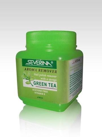 Жидкость для снятия лака «Aroma Remover - Green Tea» с поролоновой губкой, 100 мл SEVERINA