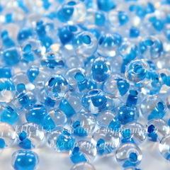 38665 Бисер Preciosa Дропс (Drops) 5/0 Кристалл блестящий с голубым центром