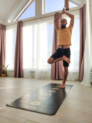 Каучуковый йога коврик Chakras Gold Pro 185*68*4,5см