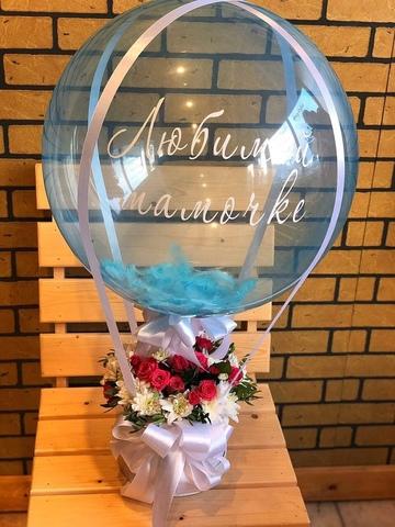 Цветы в коробочке и шар bubble #2995