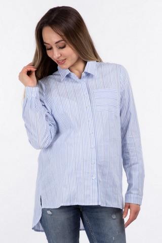 Рубашка для беременных 10924 белый/голубой/полоска