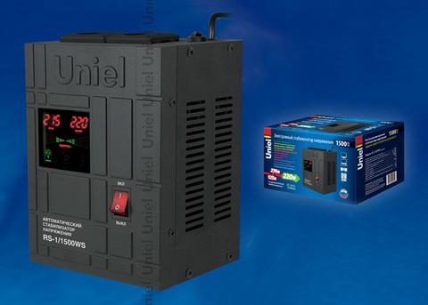 RS-1/1500WS Стабилизатор напряжения «Uniel» релейный однофазный настенный, с гальванической развязкой, 1500ВА