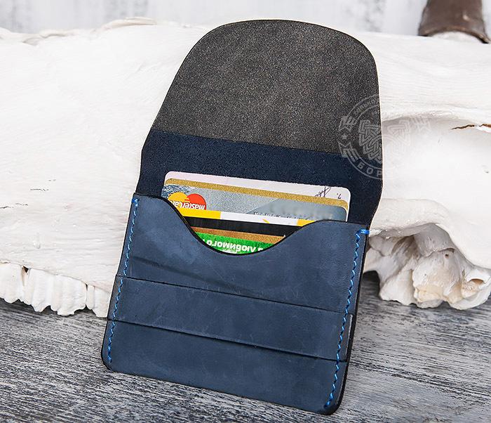 BC124-3 Кардхолдер ручной работы из натуральной синей кожи фото 09