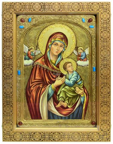 Живописная инкрустированная икона Пресвятой Богородицы «Страстная» 42х29см на кипарисе в березовом киоте