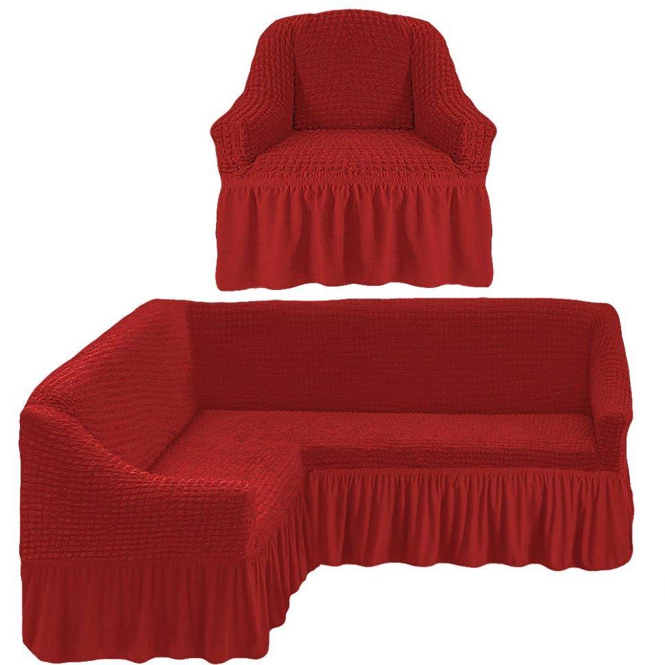 Чехол на угловой диван и кресло, терракотовый