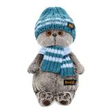 Кот Басик в голубой вязаной шапке и шарфе