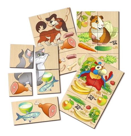 Разрезные картинки Чем питаются домашние животные