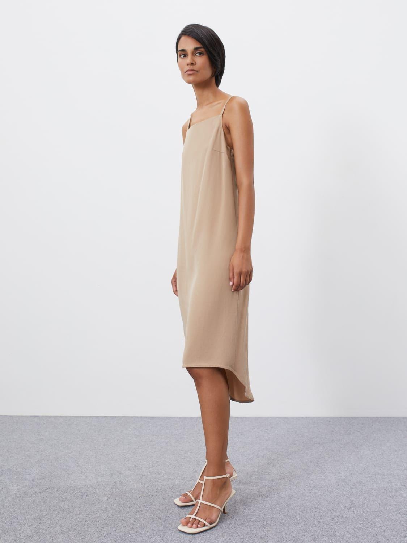 Платье Violet на бретелях с удлинённой спинкой, Бежевый