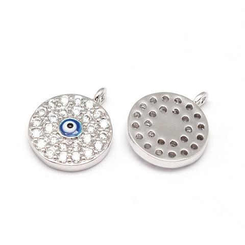 Подвеска глаз c цирконами и эмалью 13 мм цвет платина