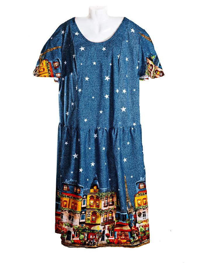 Трикотажное натуральное платье больших размеров лето