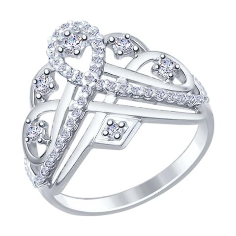 94012242- Кольцо из серебра с фианитами