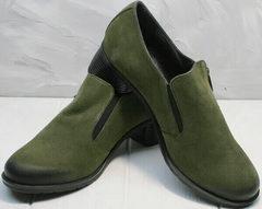 Модные осенние туфли женские натуральная кожа Miss Rozella 503-08 Khaki.