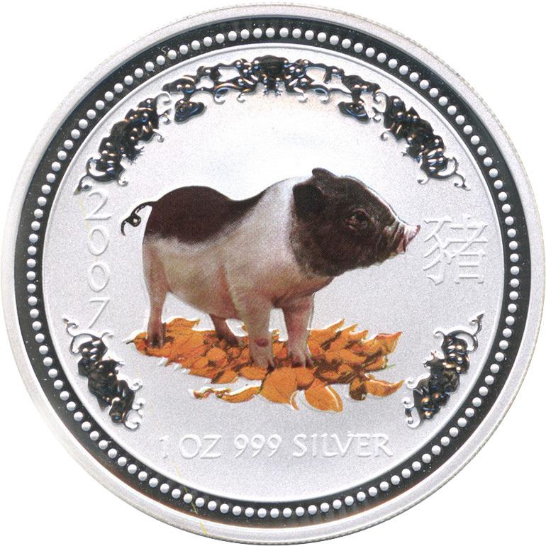 1 доллар. Год Свиньи. Австралия. 2007 год. (цветная)