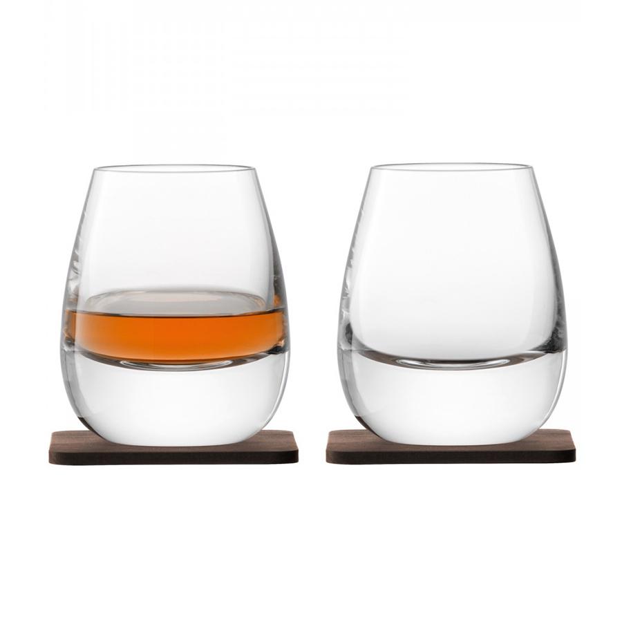 Набор из 2 стаканов «Islay Whisky» с деревянными подставками , 250 мл
