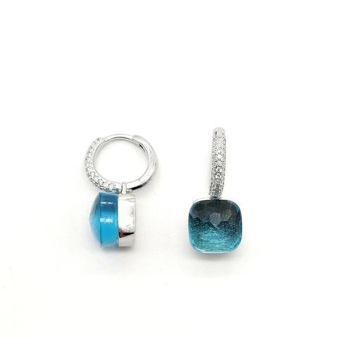 33347-Серьги из серебра с голубым кварцем в стиле Pomellato
