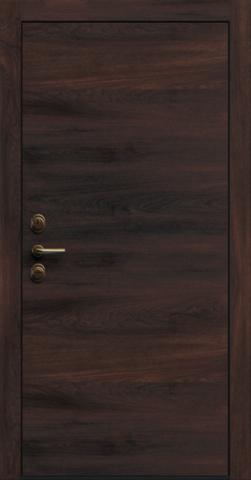 Входная дверь «Linea 1» в цвете, Сосна кофе (натуральный шпон)