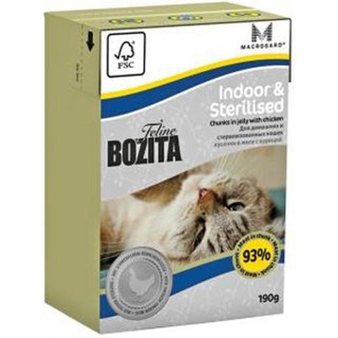 Bozita консервы для домашних, стерилизованных и малоподвижных кошек кусочки курицы в желе 190г