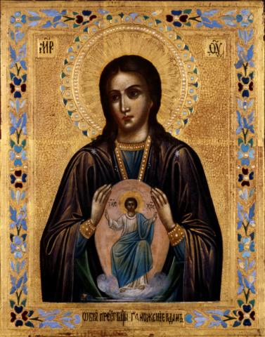 Икона Божией Матери Помощница в родах на дереве на левкасе мастерская Иконный Дом