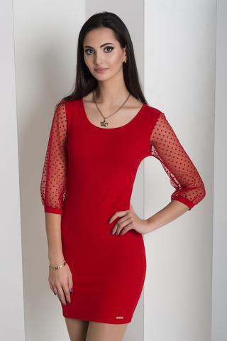 Мадлен. Оригинальное платье с гипюровыми рукавами. Красный