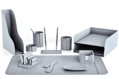 Настольный набор 12 предметов из кожи Treccia/серый
