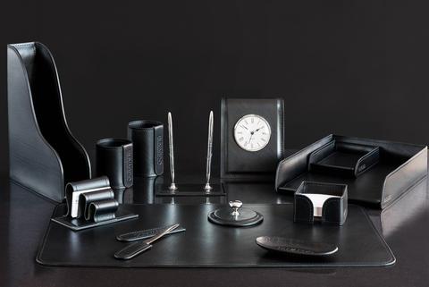 Настольный набор для руководителя 13 предметов из кожи Full Grain Black