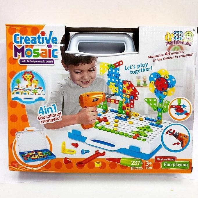 Игрушки для детей Конструктор с шуруповертом 237 дет. konstruktor-mozaika10.jpg