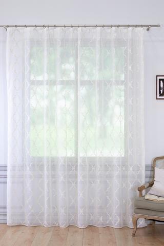 Готовая штора Кристина батист серо-белый