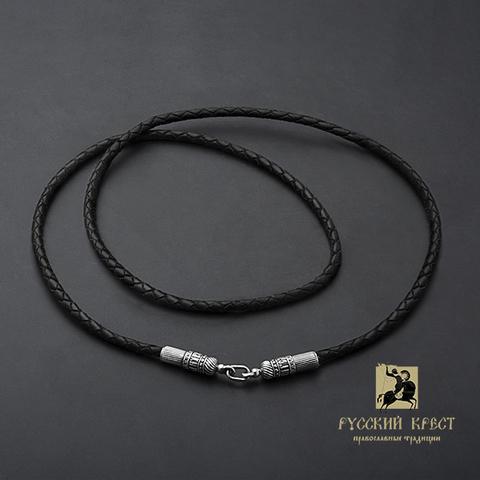 Кожаный шнурок для крестика с серебряной застёжкой.