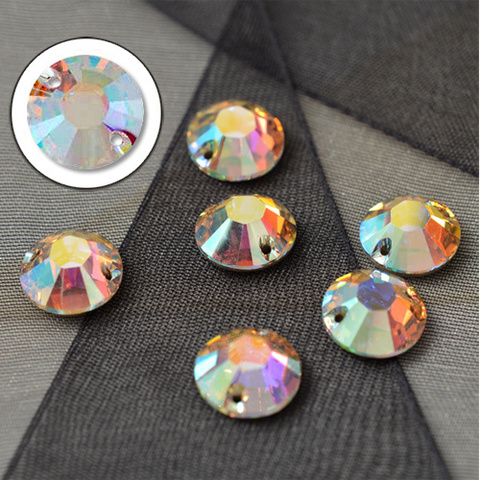 Round Crystal AB Sew-on VC