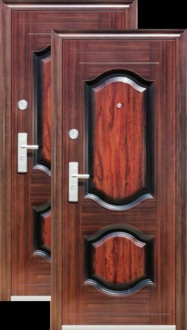 Дверь входная Кайзер К 514 , 2 замка, 0,8 мм  металл, (медь антик+тёмный орех)