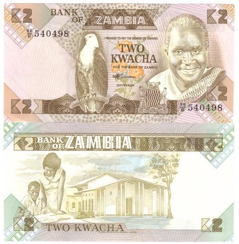 Банкнота 2 квача 1980 год, Замбия. UNC