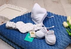 Зимний Конверт, пинетки,шапочка для новорожденных Sweetness (синий)