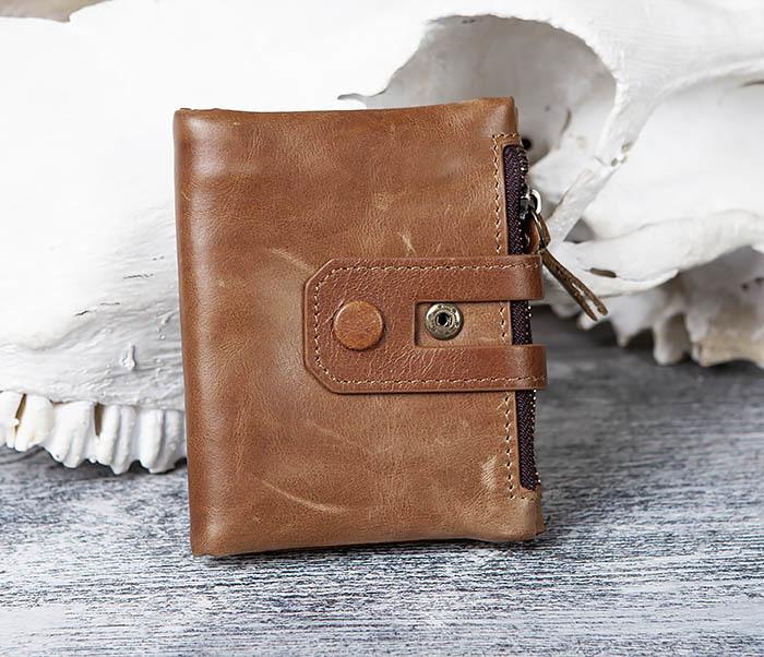 WL307-2 Мужское портмоне коричневого цвета из натуральной кожи
