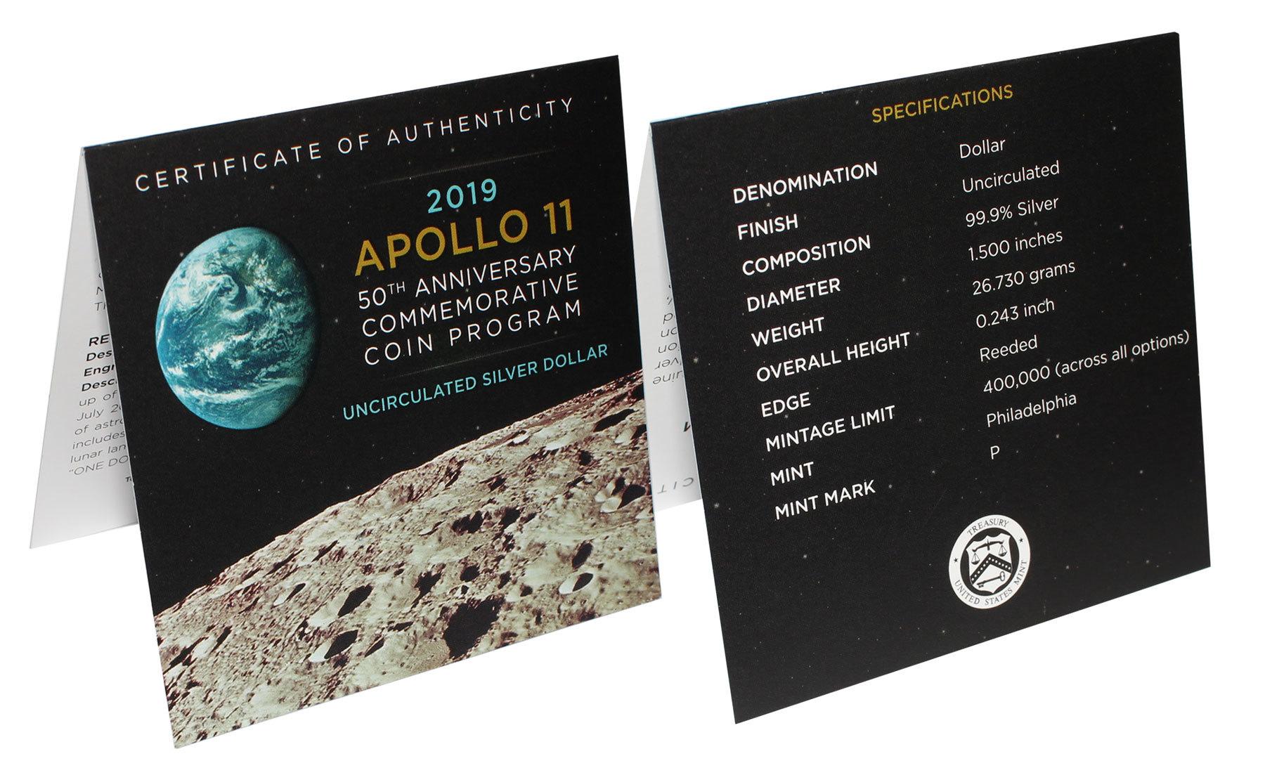 1 доллар США - Аполлон 11. 2019 год. UNC