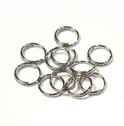 Кольцо двойное 8 мм цвет платина цена за 10 шт