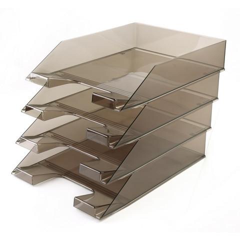 Лоток для бумаг горизонтальный Attache коричневый (4 штуки в упаковке)