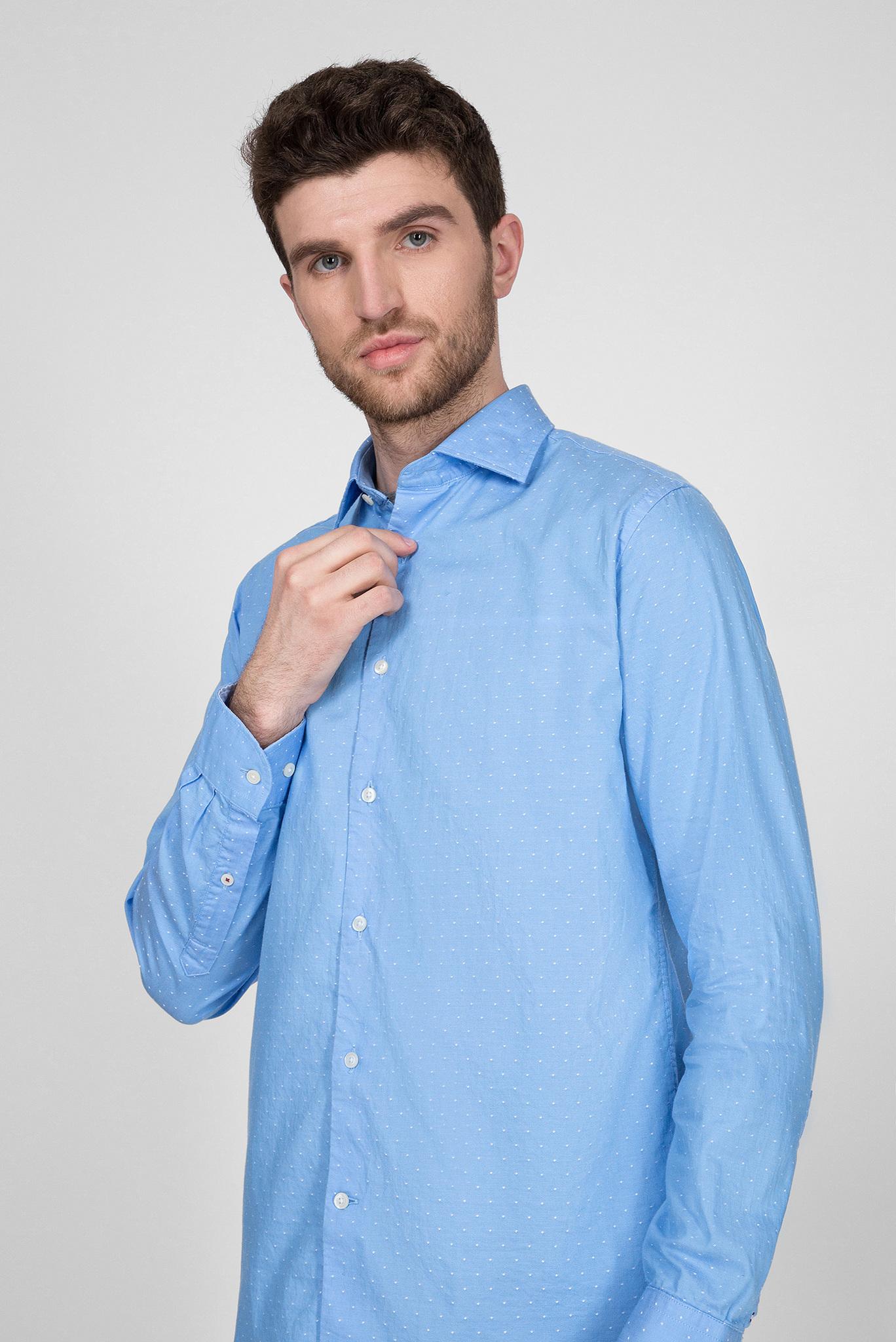 Мужская голубая рубашка TWO TONE DOBBY Tommy Hilfiger