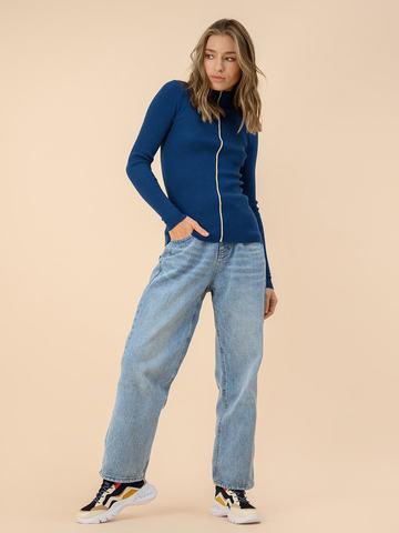 Женский джемпер темно-синего цвета из 100% шерсти - фото 3