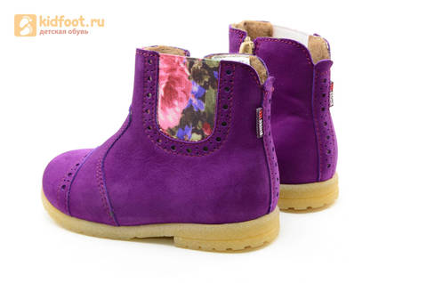 Полусапожки демисезонные для девочек Лель (LEL) из натуральной кожи на байке, цвет фиолетовый. Изображение 8 из 14.
