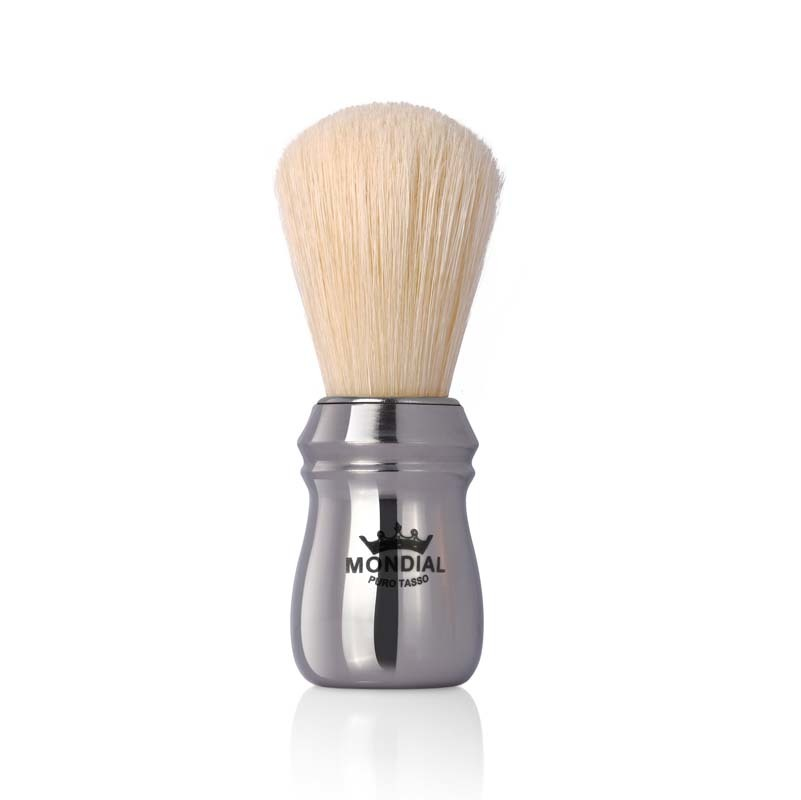 Помазок для бритья Mondial, пластик, свиной ворс, рукоять - серебристый цвет