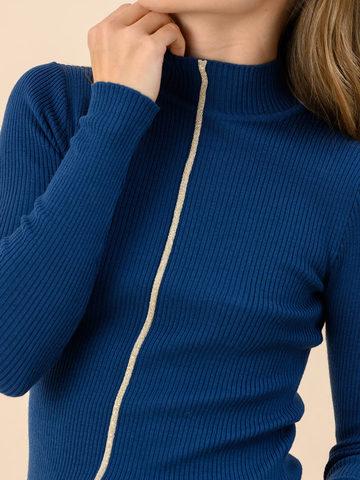 Женский джемпер темно-синего цвета из 100% шерсти - фото 4