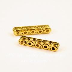 Разделитель на 5 нитей 17х3 мм (цвет - античное золото) ПАРА