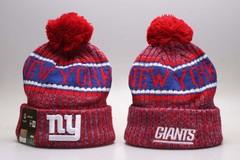 Шерстяная вязаная шапка футбольного клуба New York (Нью Йорк) NFL с помпоном красная