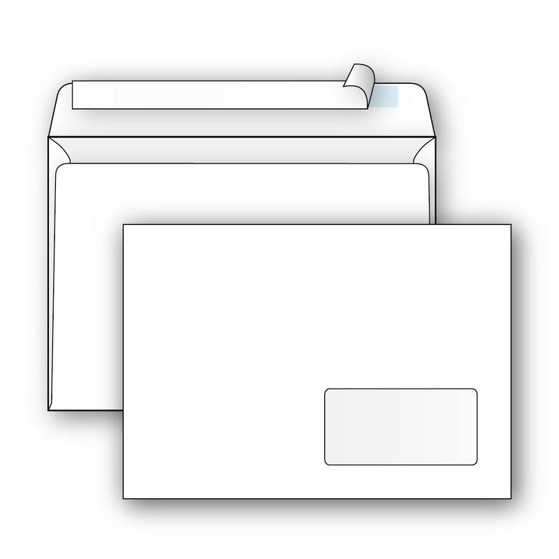 Конверт Ecopost С5 80 г/кв.м белый стрип с правым окном (1000 штук в упаковке)