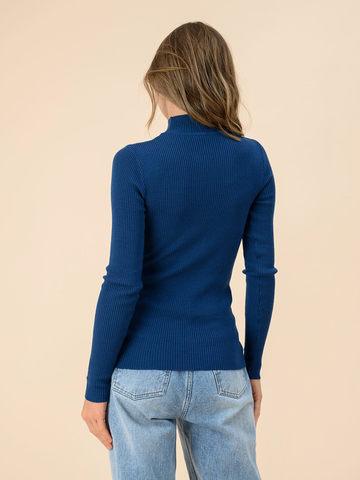 Женский джемпер темно-синего цвета из 100% шерсти - фото 2
