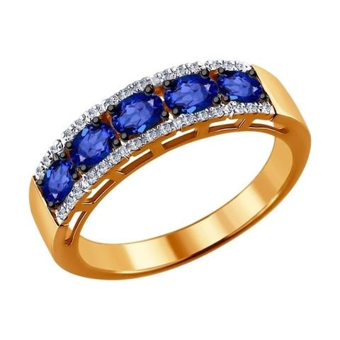 Кольцо из золота с бриллиантами и сапфиром арт.2011007 SOKOLOV