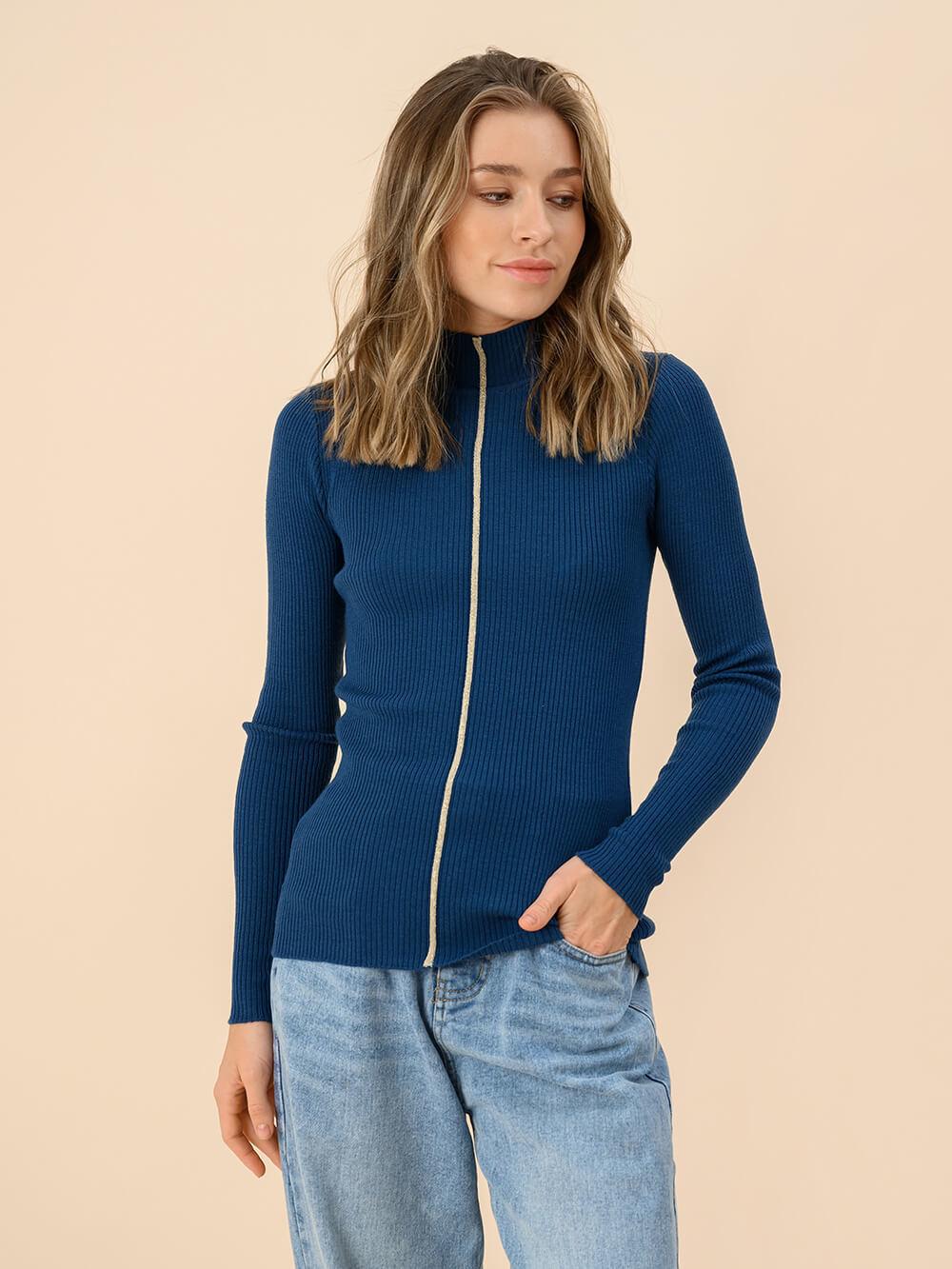 Женский джемпер темно-синего цвета из 100% шерсти - фото 1
